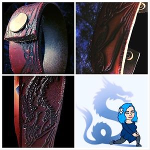 🐉Bracelet-Dragon, Leather, Snap